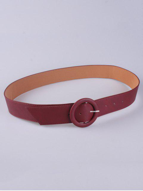 shop PU Round Buckle Belt - WINE RED  Mobile