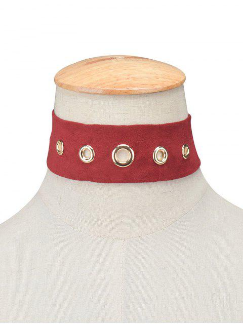 womens Suede Rivet Choker Necklace -   Mobile