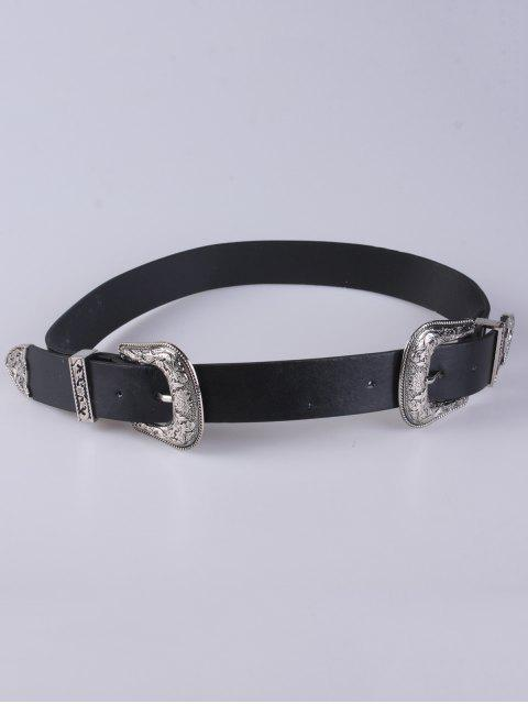 trendy Embellished Double Buckle Belt - BLACK  Mobile