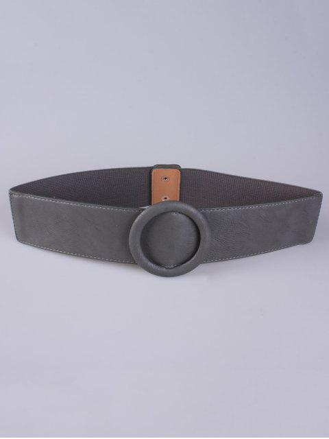 chic Round Buckle Stretch Belt - GRAY  Mobile