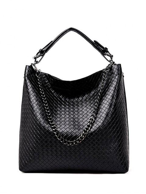 outfits Argyle Double Buckle Chain Tote Bag - BLACK  Mobile