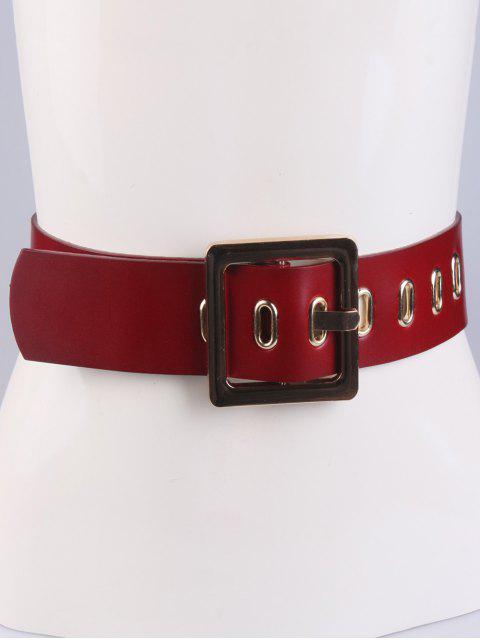 women Square Buckle Belt - RED  Mobile