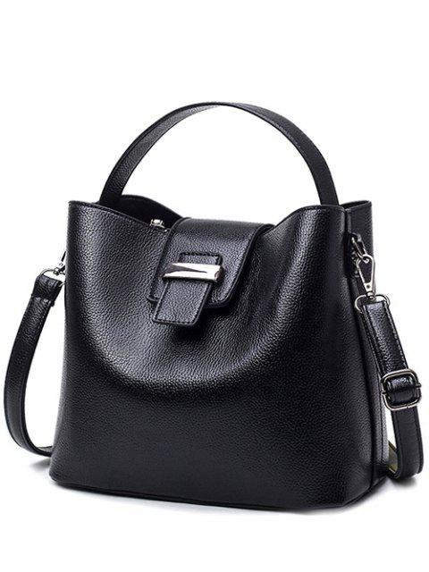 trendy Magnetic Closure Textured Leather Metallic Tote Bag - BLACK  Mobile
