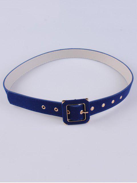 shops Square Buckle Velvet Belt - BLUE  Mobile