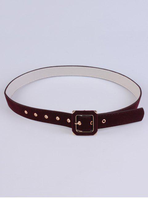 sale Square Buckle Velvet Belt - WINE RED  Mobile