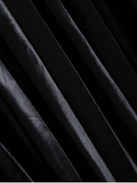 affordable Shiny Pleated Midi Skirt - BLACK XL Mobile