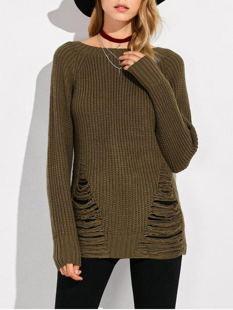 trendy Ripped Chunky Crew Neck Sweater - ARMY GREEN M Mobile