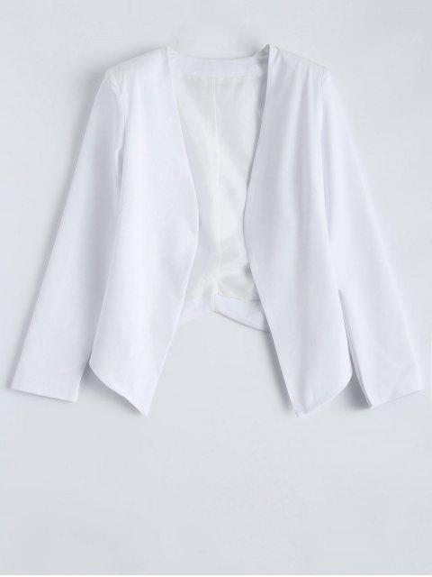 outfits Collarless Open Front Blazer - WHITE L Mobile