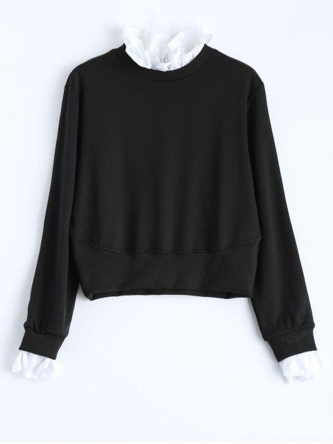 womens Ruffles Panel Cropped Pullover Sweatshirt - BLACK XL Mobile
