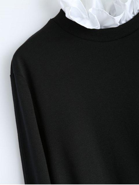 lady Ruffles Panel Cropped Pullover Sweatshirt - BLACK XS Mobile