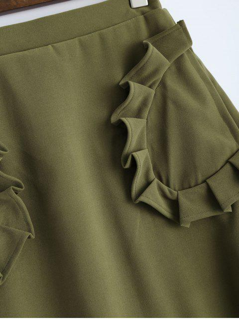 trendy A Line High Rise Pockets Skirt - ARMY GREEN M Mobile