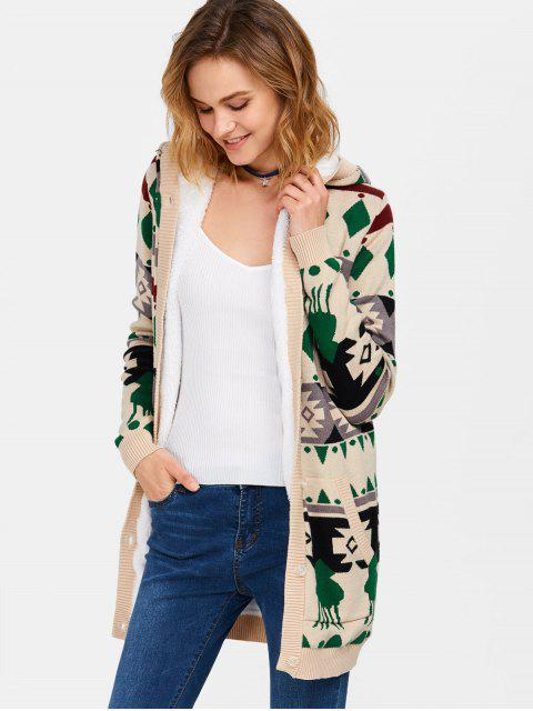 ladies Hooded Fleece Geometric Cardigan - PALOMINO M Mobile