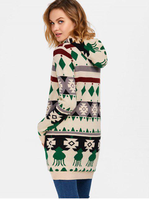 women's Hooded Fleece Geometric Cardigan - PALOMINO L Mobile