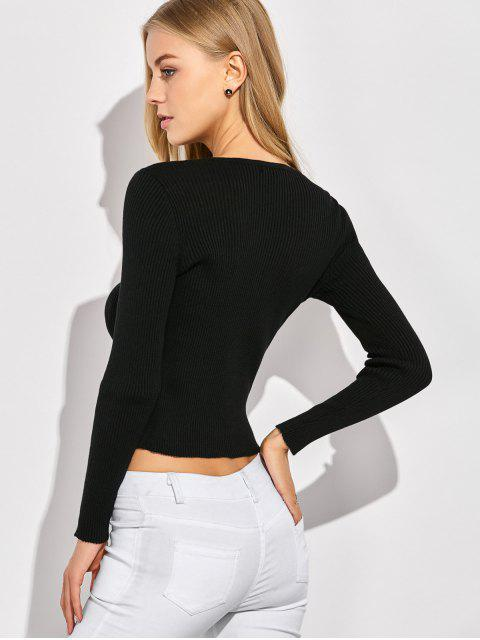 womens Ribbed Lace Up Jumper - BLACK M Mobile