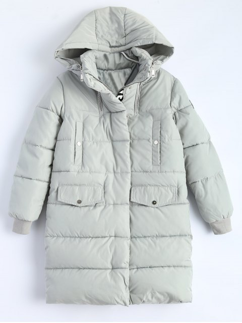 womens Hooded Quilted Padded Coat - GRAY M Mobile