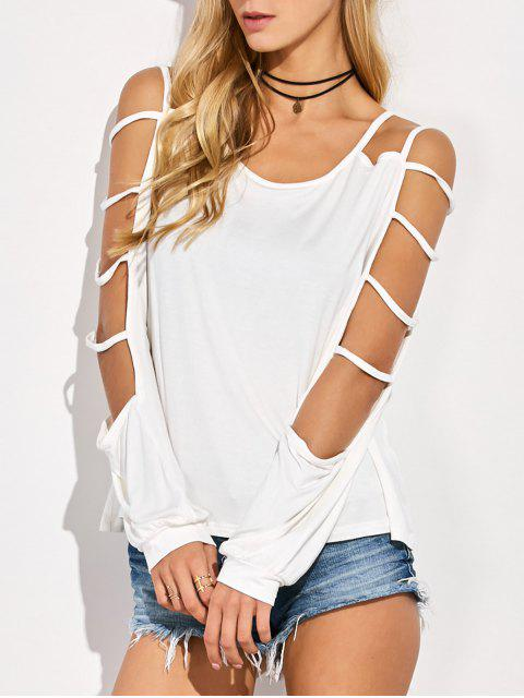 fancy Scoop Neck Cutout Sleeve T-Shirt - WHITE L Mobile