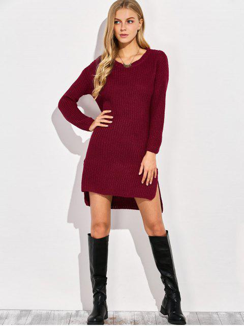 outfits High-Low Knitting Dress - WINE RED ONE SIZE Mobile