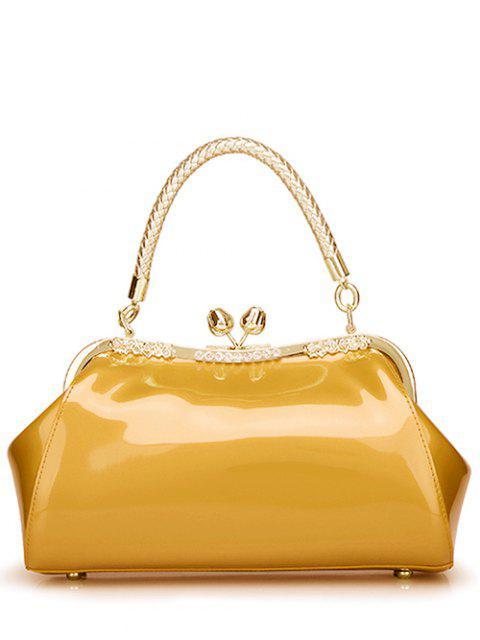 women's Patent Leather Metal Trimmed Handbag - GOLDEN  Mobile