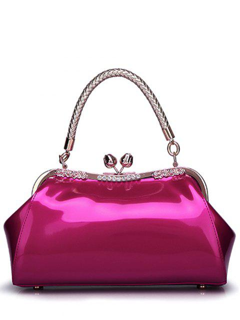ladies Patent Leather Metal Trimmed Handbag - ROSE RED  Mobile