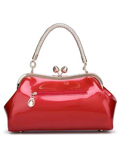 ladies Patent Leather Metal Trimmed Handbag -   Mobile