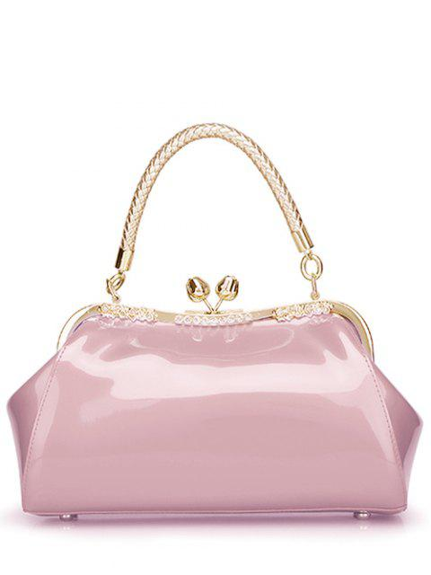 lady Patent Leather Metal Trimmed Handbag -   Mobile