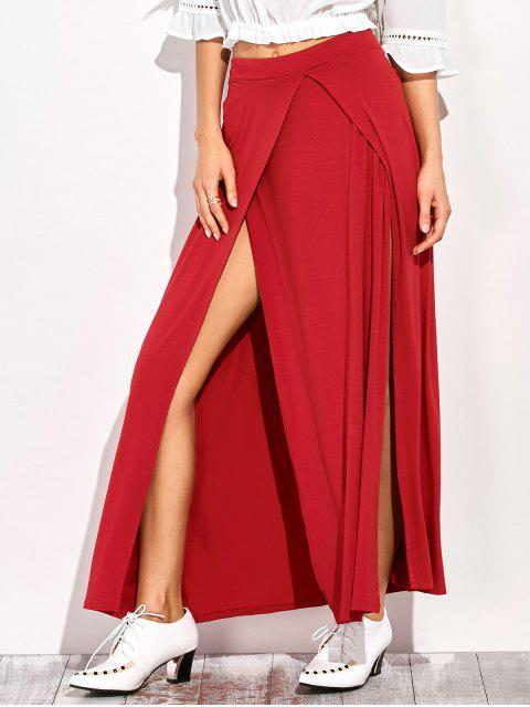 ladies Double Split Maxi Skirt - RED XL Mobile