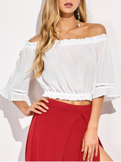 chic Elastic Hem Off The Shoulder Top - WHITE S Mobile