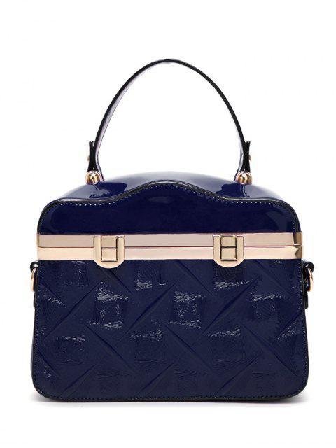 online Embossed Metal Trimmed Handbag - DEEP BLUE  Mobile