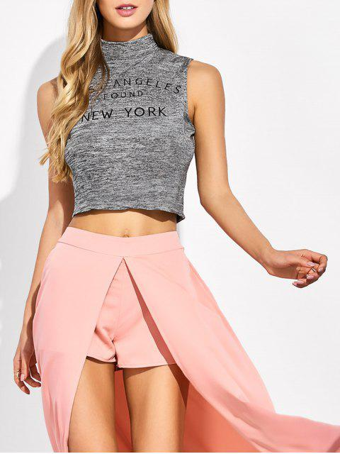 buy High Neck Cropped Tank Top - GRAY L Mobile