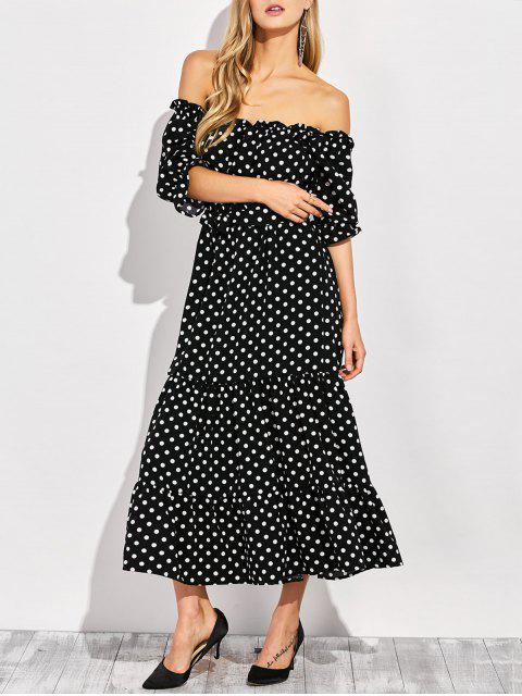 new Ruffles Polka Dot Off Shoulder Maxi Dress - BLACK L Mobile