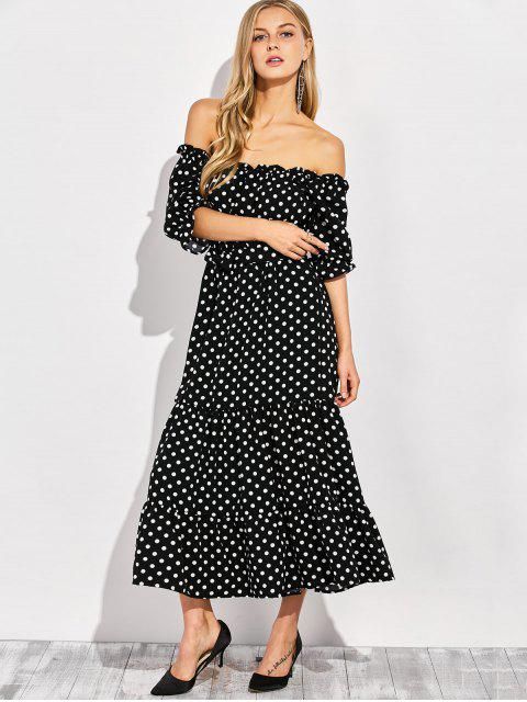 hot Ruffles Polka Dot Off Shoulder Maxi Dress - BLACK M Mobile