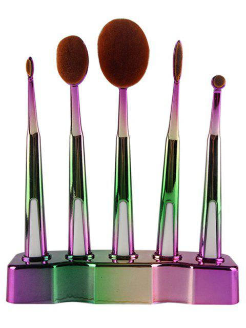 women's 5 Pcs Ombre Toothbrush Shape Makeup Brushes Set with Holder -   Mobile