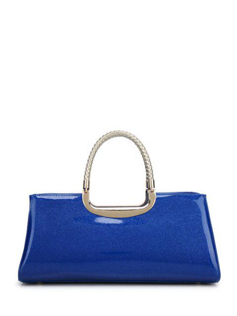 hot Braid Patent Leather Handbag - SAPPHIRE BLUE  Mobile