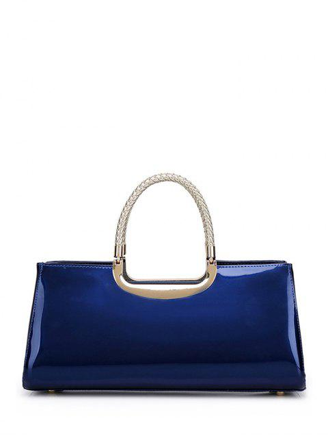 outfits Braid Patent Leather Handbag - DEEP BLUE  Mobile
