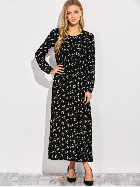 new Scoop Neck Tiny Flower Maxi Shirt Dress - BLACK M Mobile