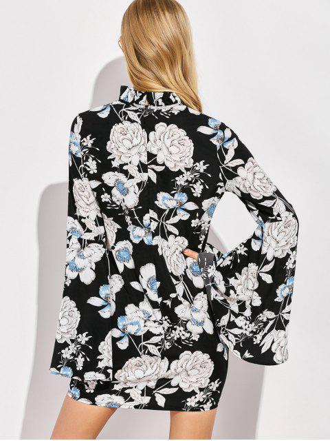 trendy Floral Print Bell Sleeves Dress - BLACK XL Mobile