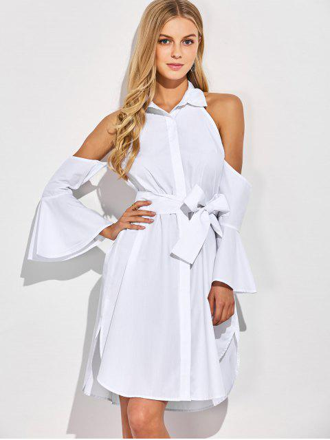 lady Cold Shoulder Flared Cuffs Shirt Dress - WHITE XL Mobile