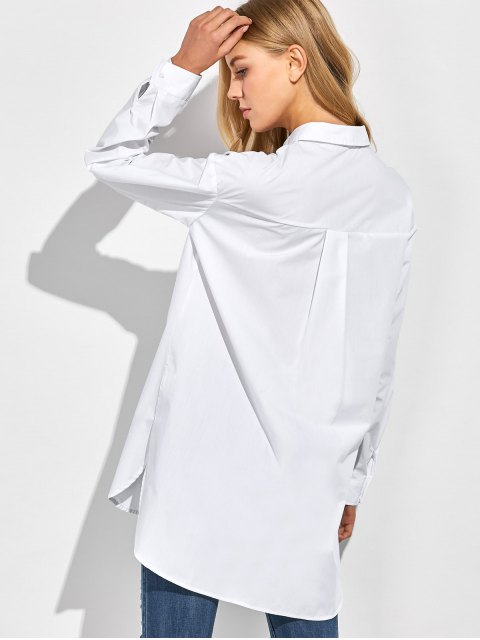 best Oversized Boyfriend Shirt With Pocket - WHITE M Mobile