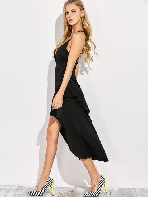 lady Thin Strap Asymmetric Ruffled Cocktail Dress - BLACK S Mobile