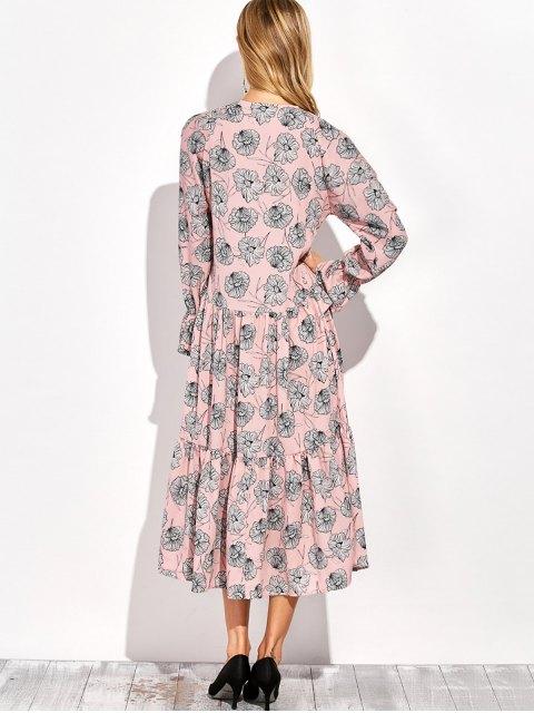 hot Long Sleeve Printed Maxi Slit Dress - COLORMIX M Mobile