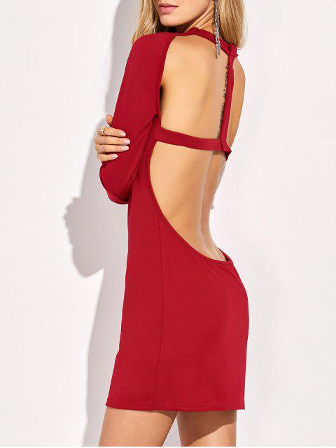 outfits Long Sleeve Backless Bodycon Dress - RED L Mobile