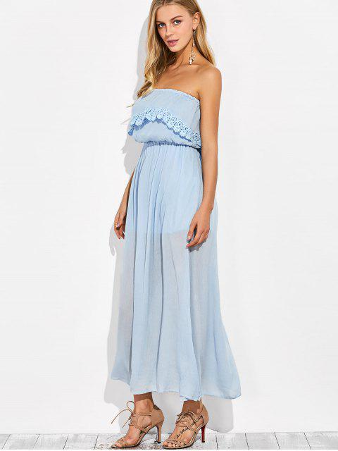 shop Layered Bandeau Maxi Dress - LIGHT BLUE XL Mobile