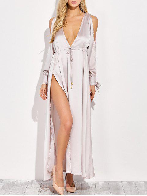 fancy Thigh Split Cold Shoulder Maxi Plunge Dress - APRICOT L Mobile