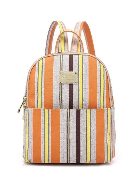 latest Striped Metal Zippers Backpack - LIGHT GRAY  Mobile