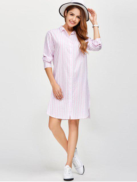 fancy Slit Loose Striped Shirt - PINK XL Mobile