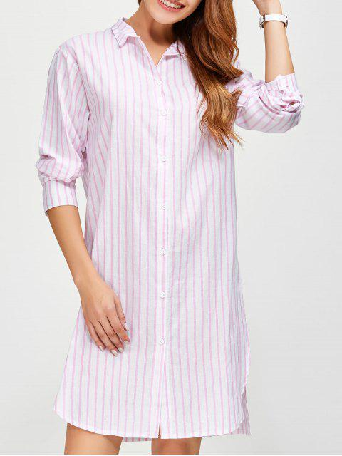 unique Slit Loose Striped Shirt - PINK L Mobile