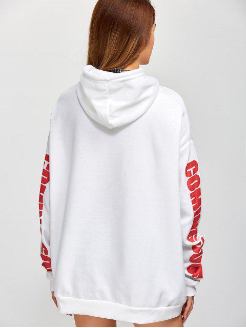 trendy Fleece Oversized Hoodie - WHITE ONE SIZE Mobile