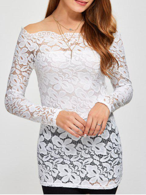 hot Fitting Off The Shoulder Lace Blouse - WHITE XL Mobile
