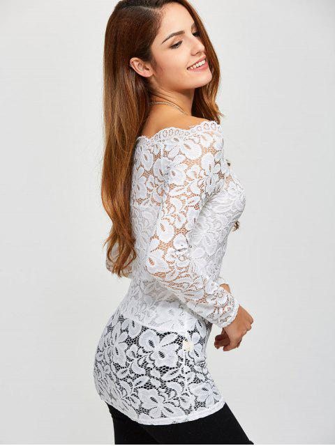 shop Fitting Off The Shoulder Lace Blouse - WHITE S Mobile