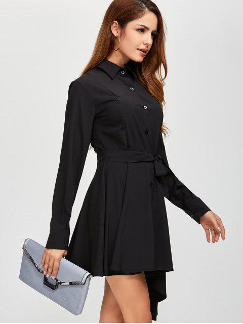 sale Asymmetric Long Sleeve Button Up Shirt Dress - BLACK L Mobile